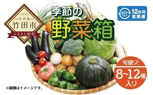 竹田市産!季節の『野菜箱』12ヶ月 定期便 【1箱あたり:8~12種】