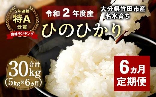 【6ヵ月定期便】竹田産 名水育ち ひのひかり 5kg 2年連続特A受賞