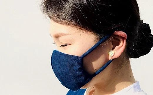 手作り 藍染のガーゼマスク 大人用 Lサイズ マスク 綿100%